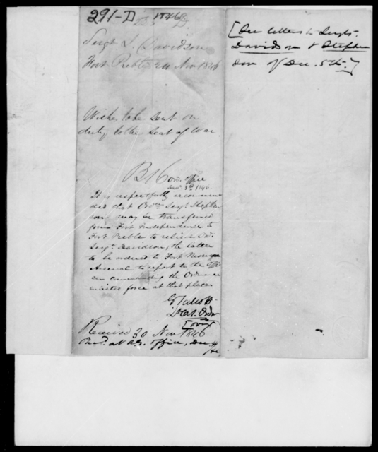 Davidson, James - State: [Blank] - Year: 1846 - File Number: D291