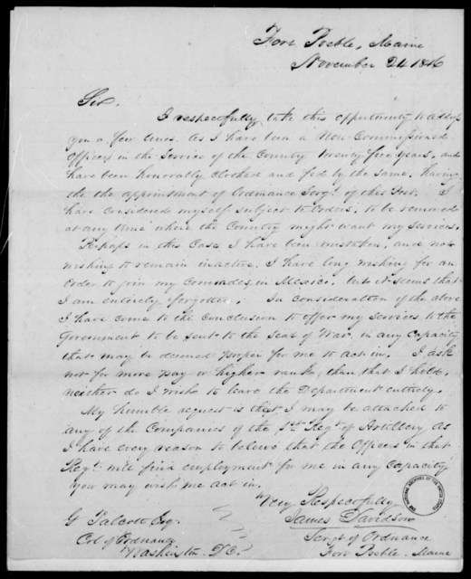 Davidson, James - State: Maine - Year: 1846 - File Number: D291