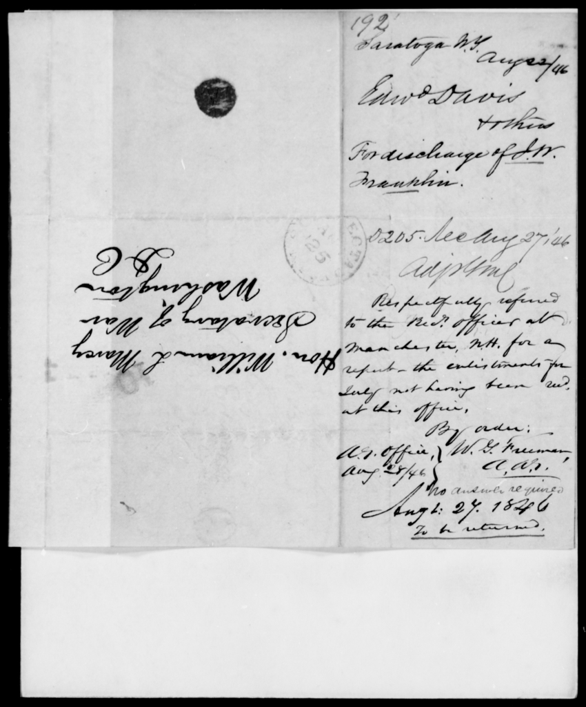 Davis, Edward - State: New York - Year: 1846 - File Number: D192
