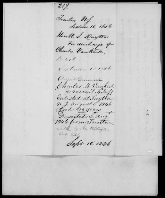 Dayton, W L - State: New Jersey - Year: 1846 - File Number: D219
