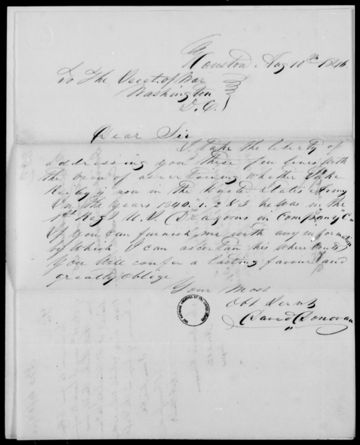 Donovan, David - State: District of Columbia - Year: 1846 - File Number: D202