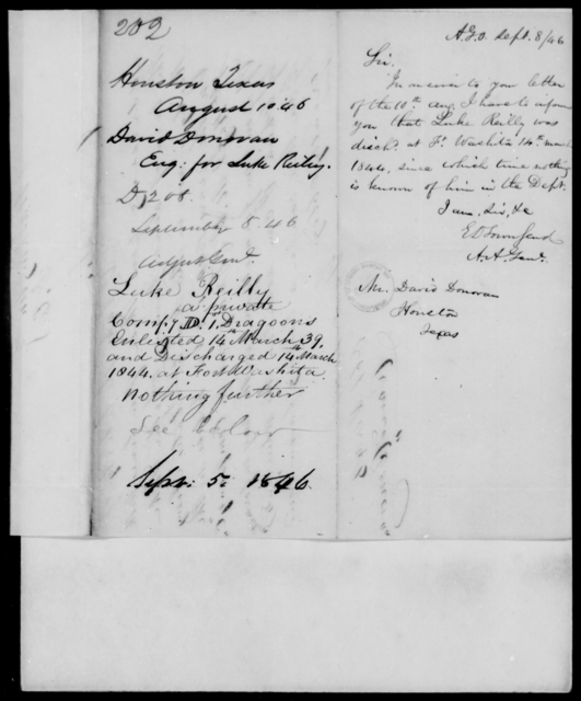 Donovan, David - State: Texas - Year: 1846 - File Number: D202
