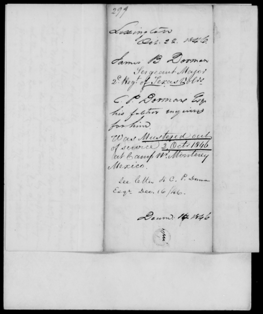 Dorman, James B - State: Texas - Year: 1846 - File Number: D299
