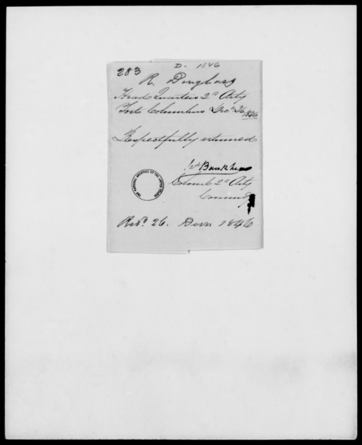 Douglas, R - State: [Blank] - Year: 1846 - File Number: D283