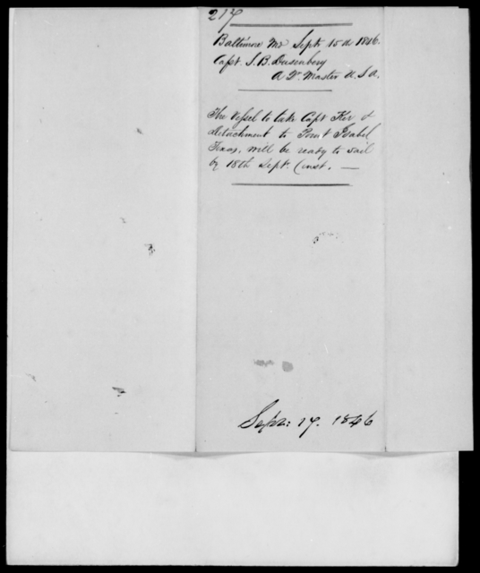 Dusenbery, S B - State: Maryland - Year: 1846 - File Number: D217