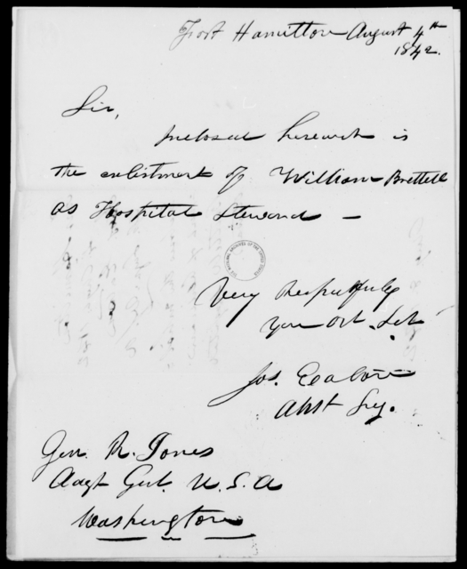 Easton, Jos - State: [Blank] - Year: 1842 - File Number: E98