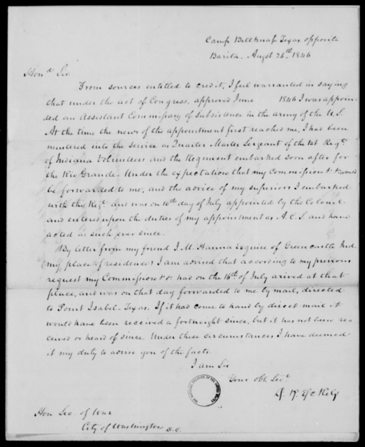 Eckels, D R - State: Texas - Year: 1846 - File Number: E103