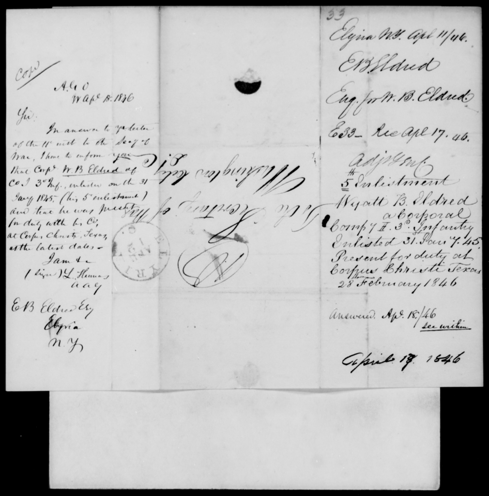 Eldred, Ebenezer B - State: New York - Year: 1846 - File Number: E33