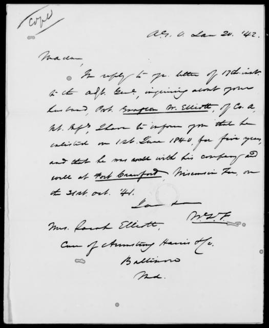 Elliott, Grafton W - State: Maryland - Year: 1842 - File Number: E9