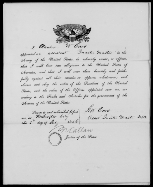 Enos, Alanson W - State: District of Columbia - Year: 1846 - File Number: E63