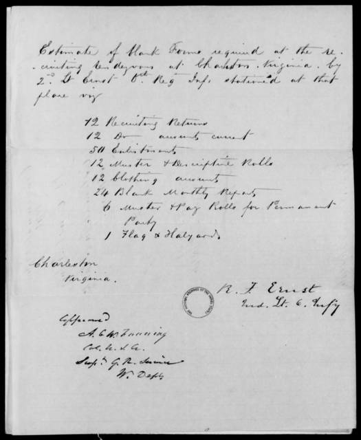 Ernest, R F - State: Virginia - Year: 1846 - File Number: E60