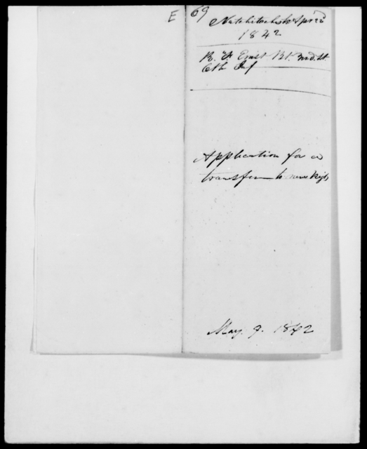 Ernst, R F - State: Maryland - Year: 1842 - File Number: E69