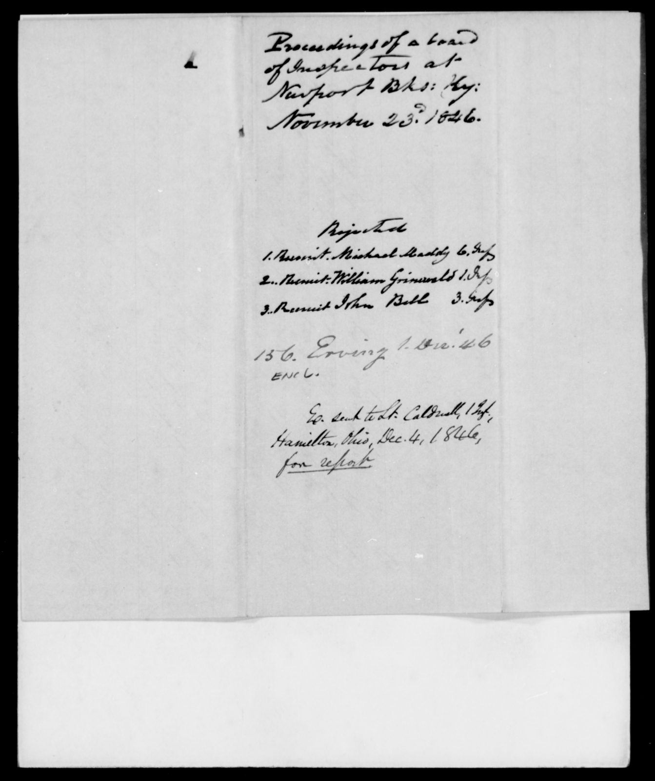 Erving, J - State: Kentucky - Year: 1846 - File Number: E156