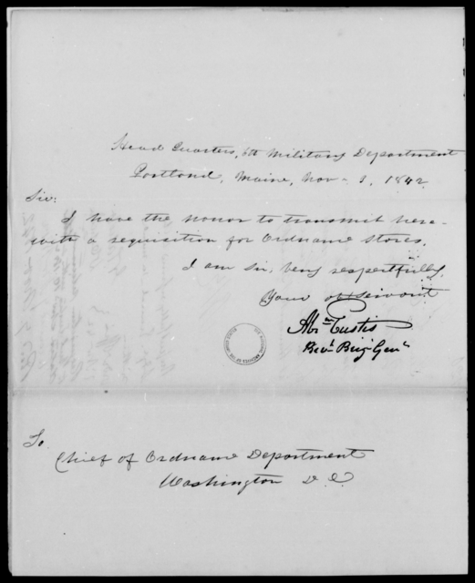 Eustis, A - State: Maine - Year: 1842 - File Number: E120
