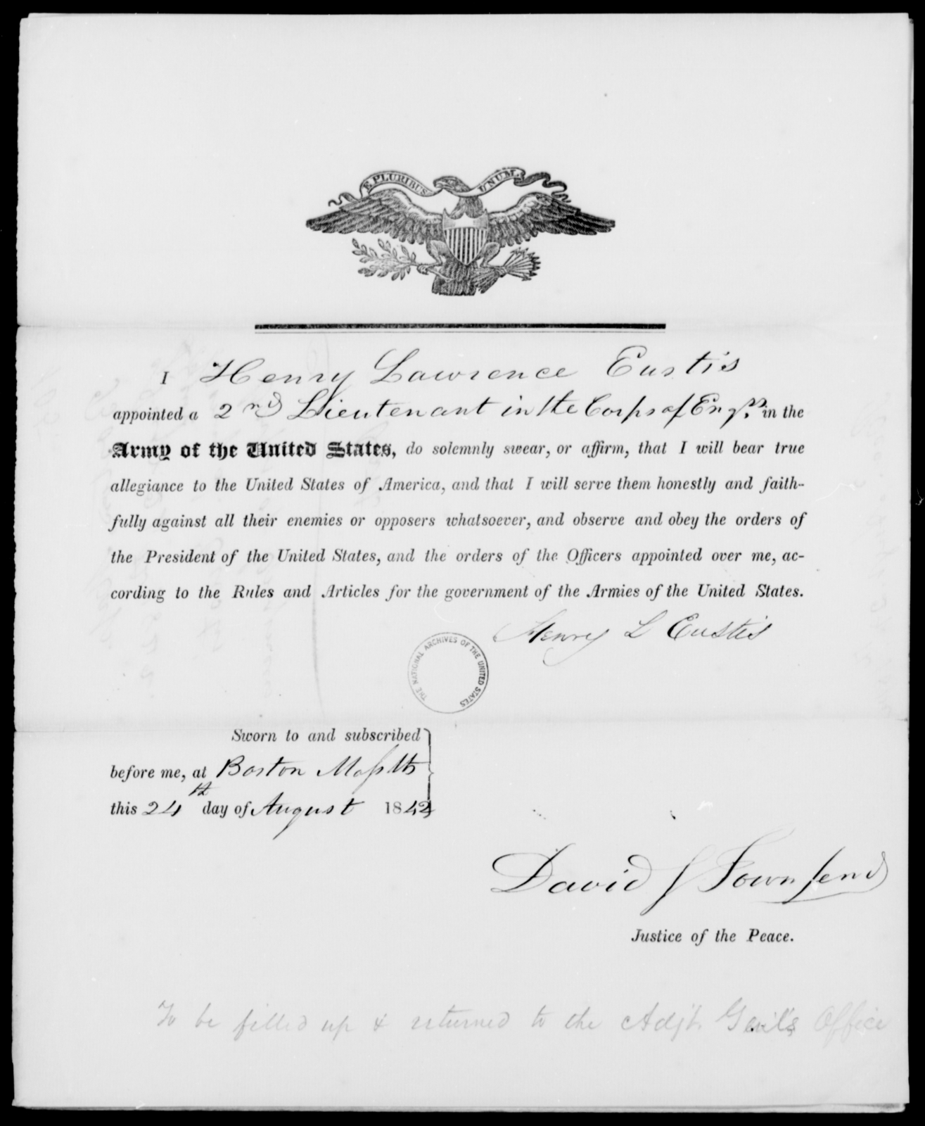Eustis, Henry L - State: [Blank] - Year: 1842 - File Number: E105