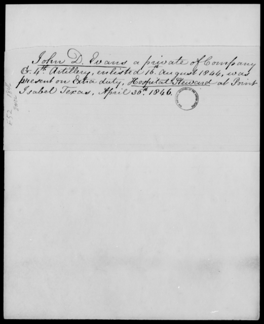 Evans, John D - State: Texas - Year: 1846 - File Number: E52