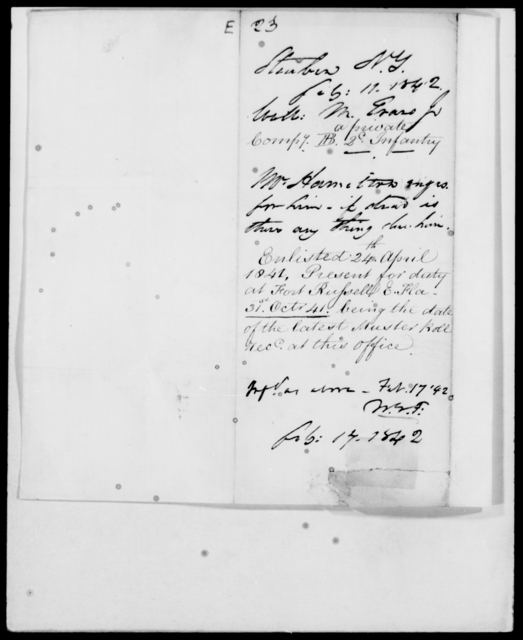 Evans, M - State: New York - Year: 1842 - File Number: E23