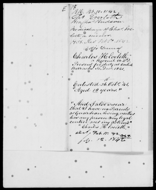 Eveleth, Charles - State: [Blank] - Year: 1842 - File Number: E18