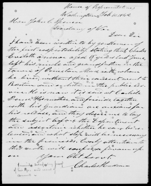 Eveleth, Charles - State: Washington - Year: 1842 - File Number: E18