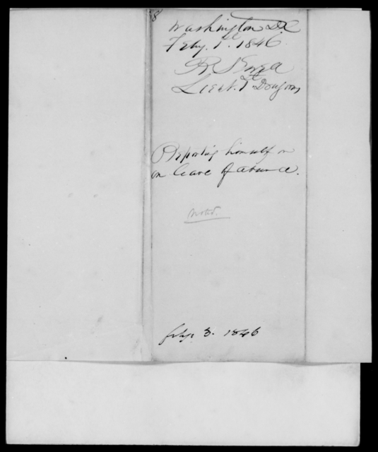 Ewell, R S - State: District of Columbia - Year: 1846 - File Number: E8
