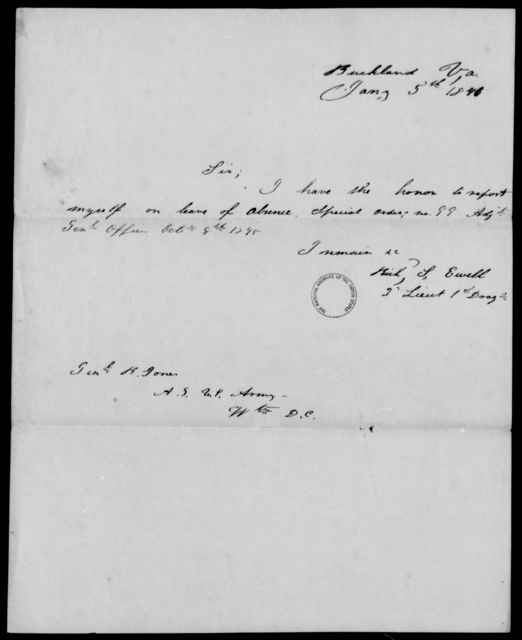 Ewell, Rich S - State: Virginia - Year: 1846 - File Number: E1