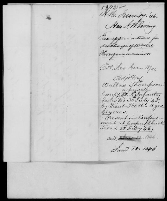 Ewing, John H - State: Texas - Year: 1846 - File Number: E53