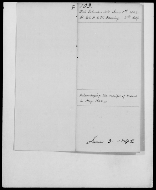 Fanning, A C W - State: New York - Year: 1842 - File Number: F103