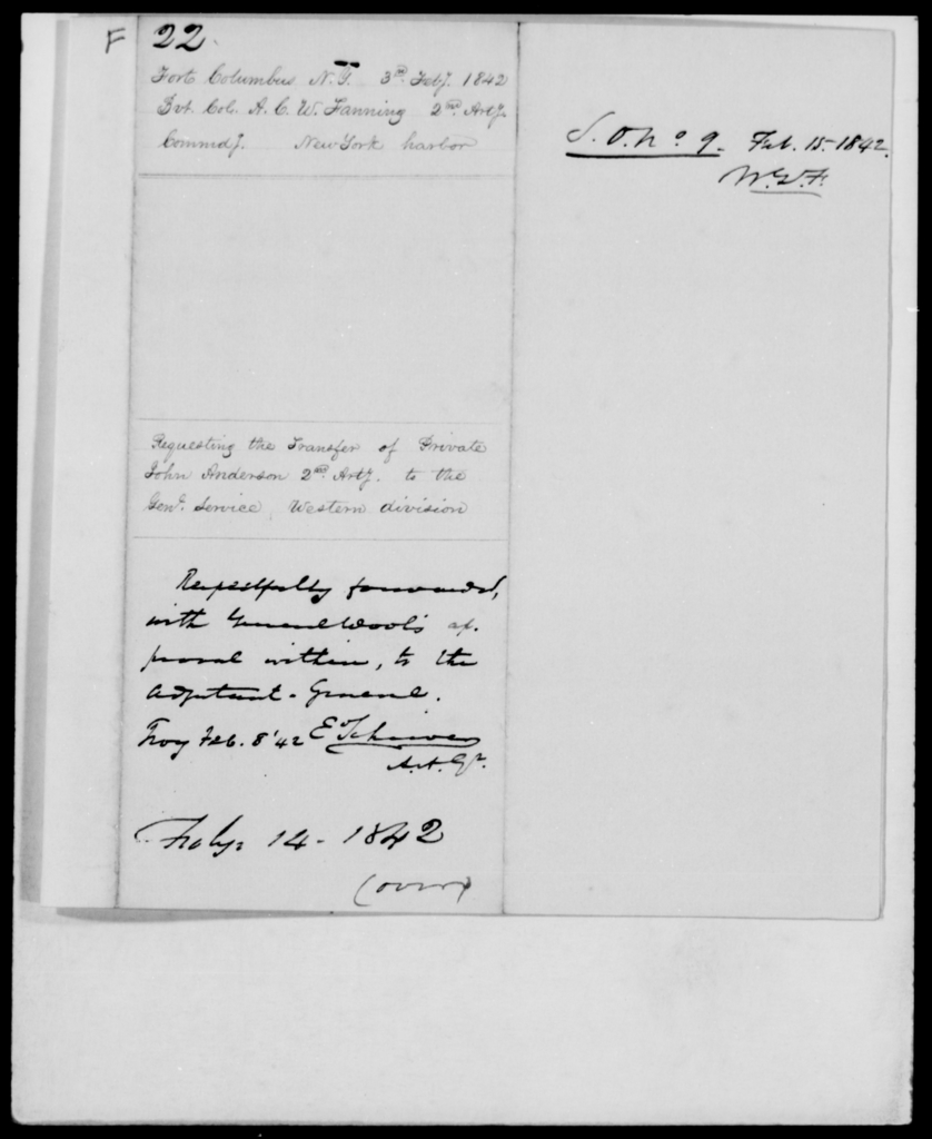 Fanning, A C W - State: New York - Year: 1842 - File Number: F22
