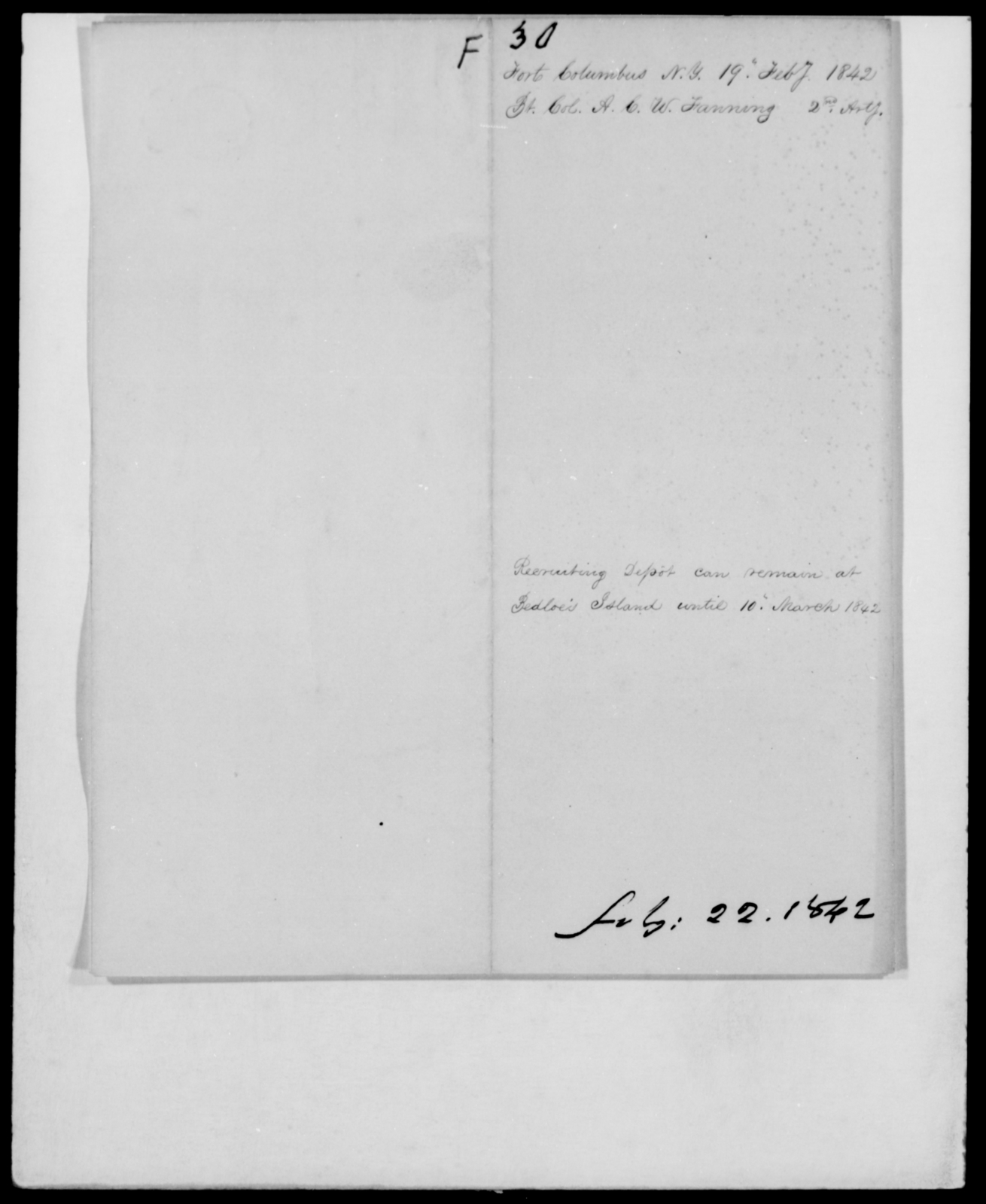 Fanning, A C W - State: New York - Year: 1842 - File Number: F30