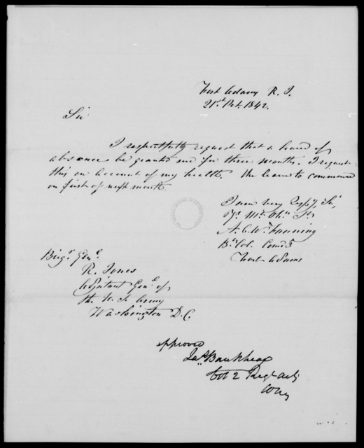Fanning, [Blank] - State: Rhode Island - Year: 1842 - File Number: F154