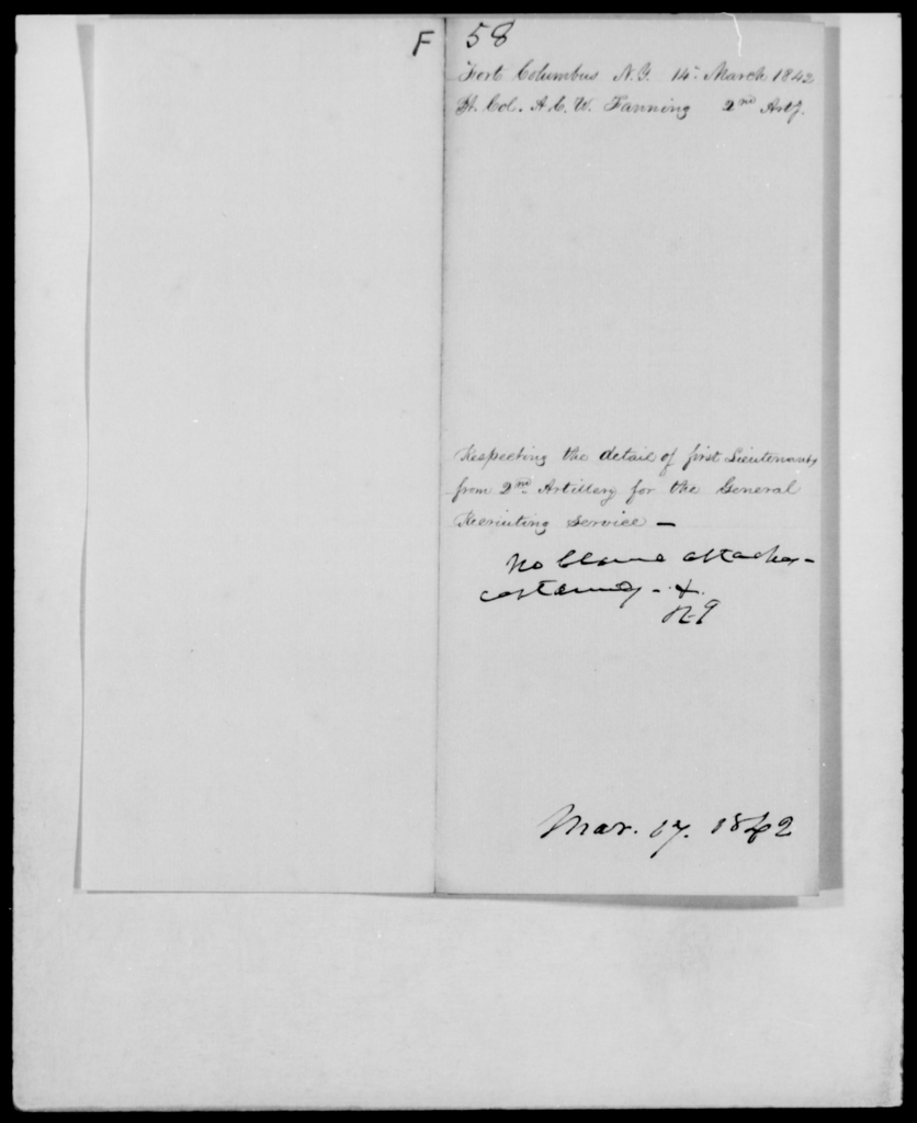 Fauntleroy, A C W - State: New York - Year: 1842 - File Number: F58