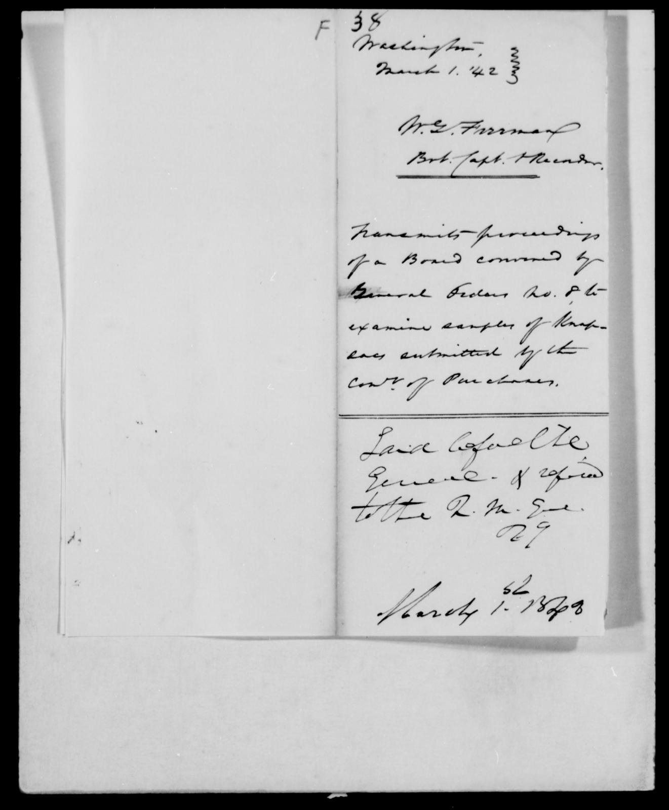 Firrman, W G - State: [Blank] - Year: 1842 - File Number: F38