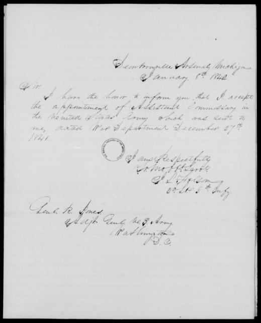 Folsom, J L - State: Michigan - Year: 1842 - File Number: F10