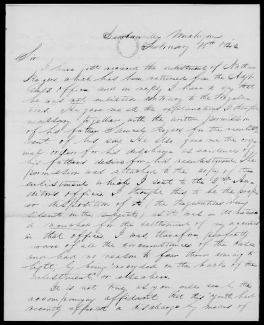 Folsom, J L - State: Michigan - Year: 1842 - File Number: F42