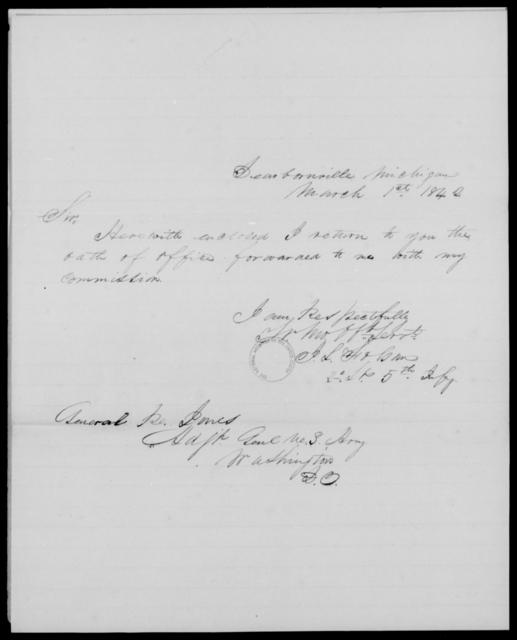 Folsom, J L - State: Michigan - Year: 1842 - File Number: F51
