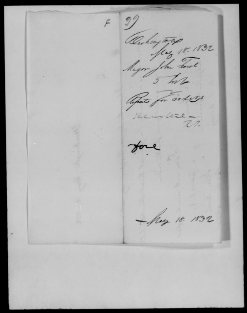 Fowl, John - State: Washington - Year: 1832 - File Number: F29