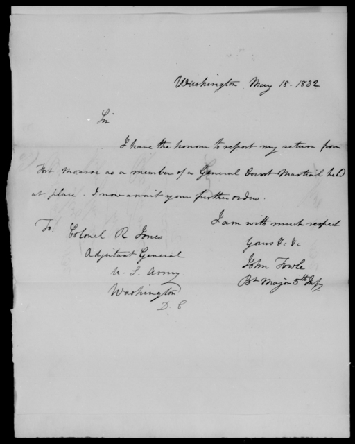 Fowle, John - State: Washington - Year: 1832 - File Number: F29