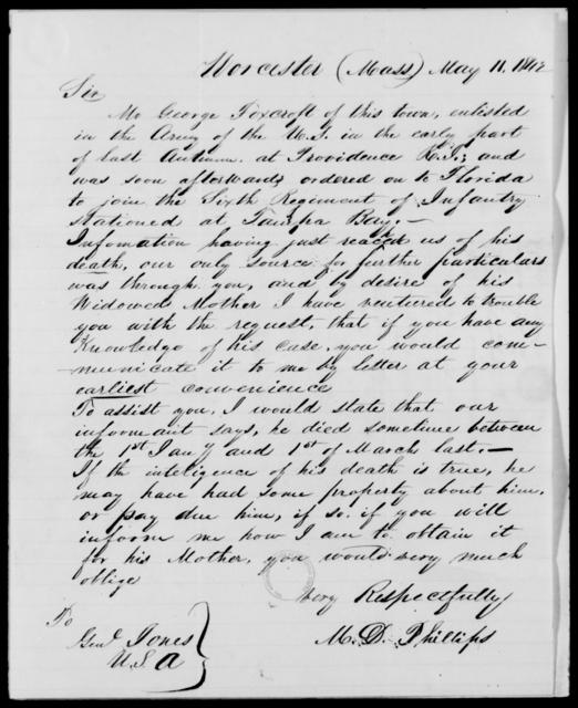 Foxcroft, Geo - State: Massachusetts - Year: 1842 - File Number: F93