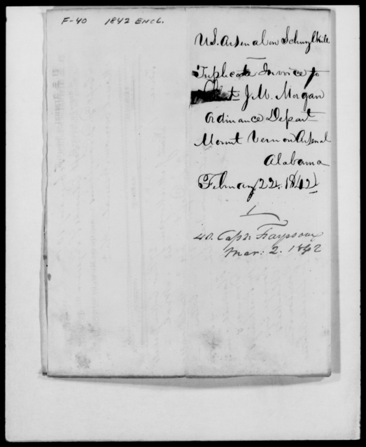 Frayssoux, E S - State: Alabama - Year: 1842 - File Number: F40