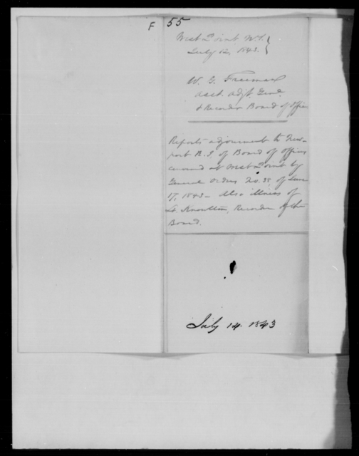 Freeman, W G - State: New York - Year: 1843 - File Number: F55