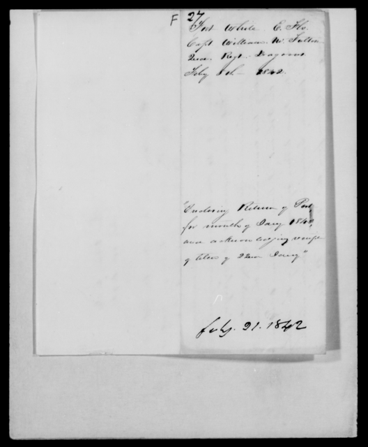 Fulton, William M - State: [Blank] - Year: 1842 - File Number: F27