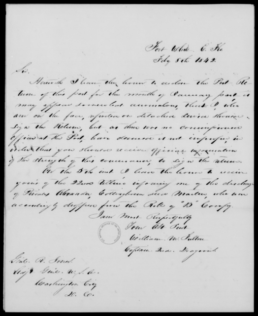 Fulton, William M - State: Florida - Year: 1842 - File Number: F27