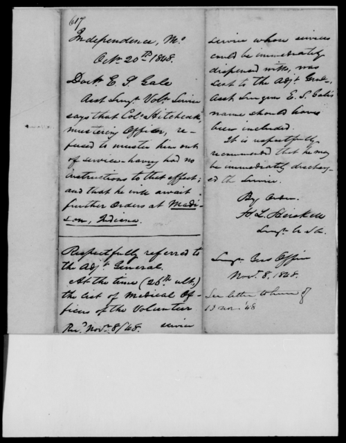 Gale, E S - State: Missouri - Year: 1848 - File Number: G617