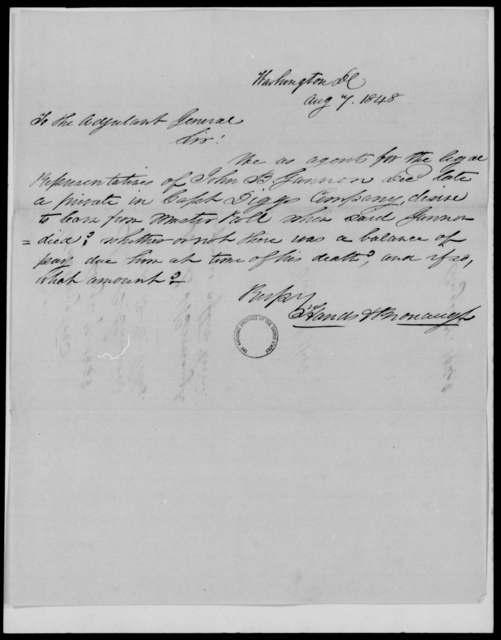 Gannon, John B - State: District of Columbia - Year: 1848 - File Number: G316