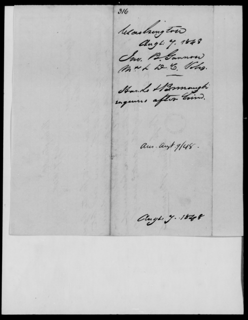 Gannon, John B - State: Washington - Year: 1848 - File Number: G316