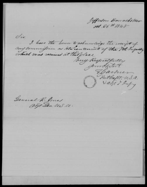 Gardner, F - State: Maryland - Year: 1848 - File Number: G540