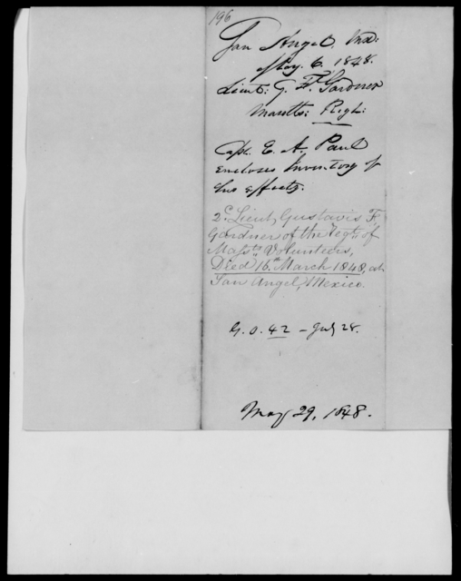 Gardner, G F - State: Maryland - Year: 1848 - File Number: G196