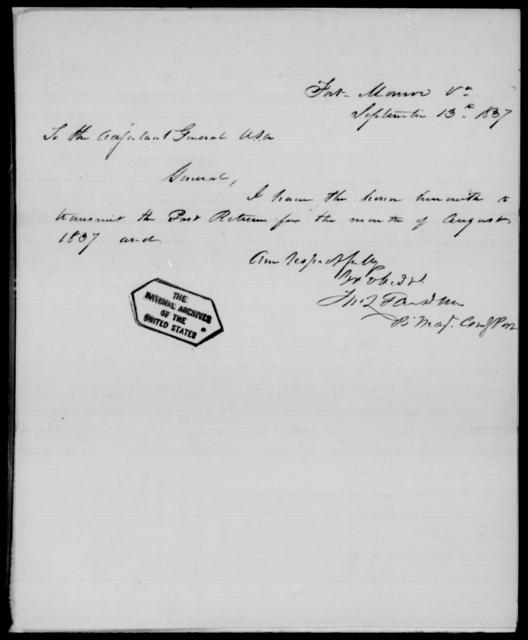 Gardner, J M - State: Virginia - Year: 1837 - File Number: [Blank]