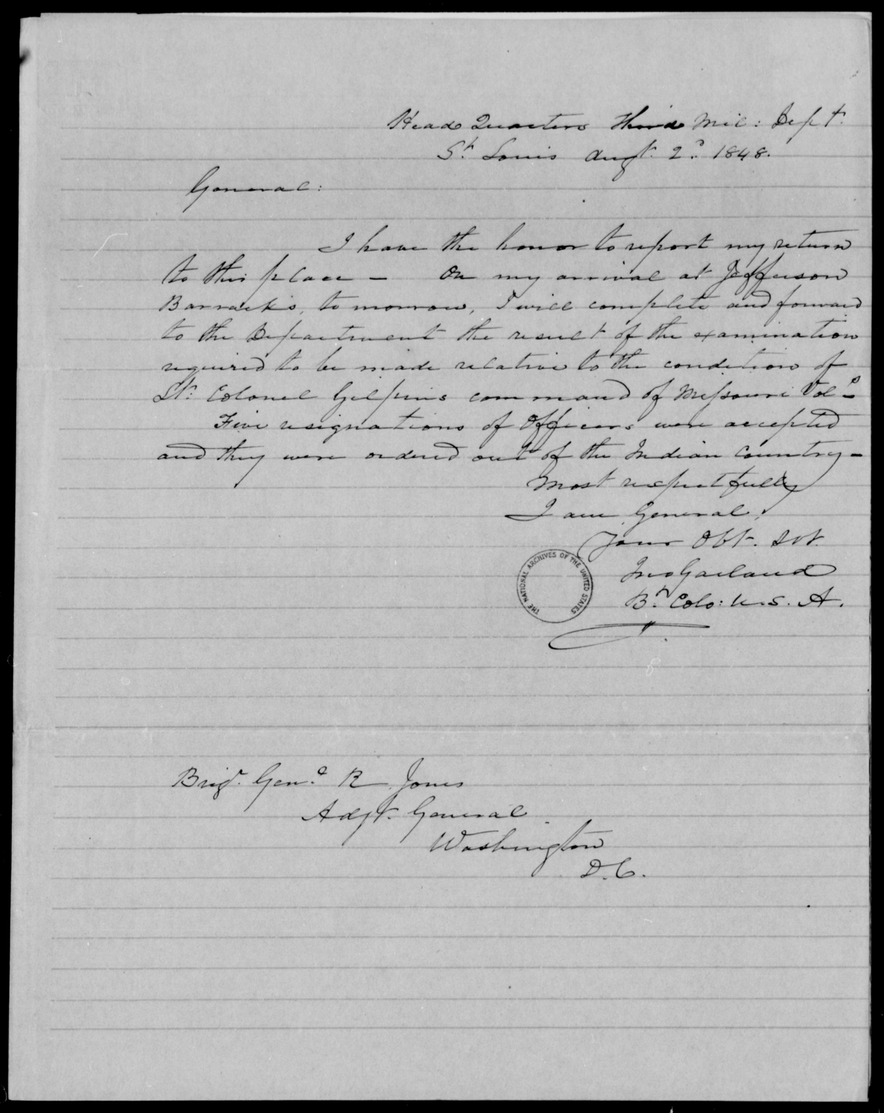 Garland, Jno - State: [Blank] - Year: 1848 - File Number: G339