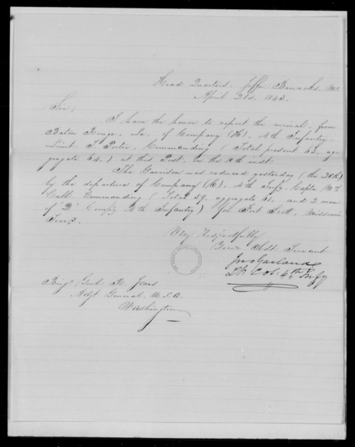 Garland, Jno - State: Missouri - Year: 1843 - File Number: G77